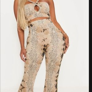 Shaped Tupae snake print strappy crop top,flares